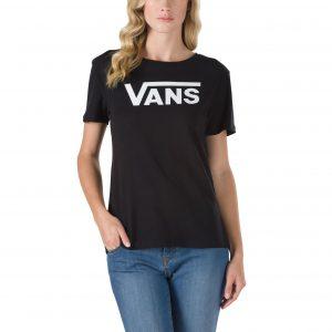 VANS FLYING V CREW BLACK T-SHIRT women tricou gete negru dama black